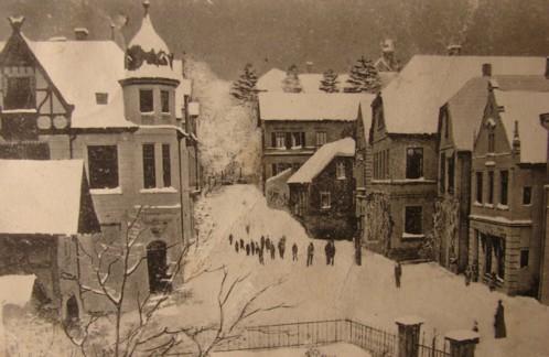 """Postkarte, um 1905, nachträglich mit """"Schnee"""" versehen und den Strommasten entfernt"""