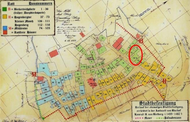 Plan vom 04. Dezember 1875 (rot eingekreist: Haus Nr. 13/14)