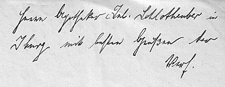 """Widmung """"Herrn Apotheker Jul[ius] Schlotheuber in Iburg mit besten Grüßen der Verf[asser]"""