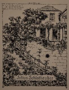 """Exlibris """"Blick vom Garten auf die Apotheke"""" von Julius Schlotheuber"""