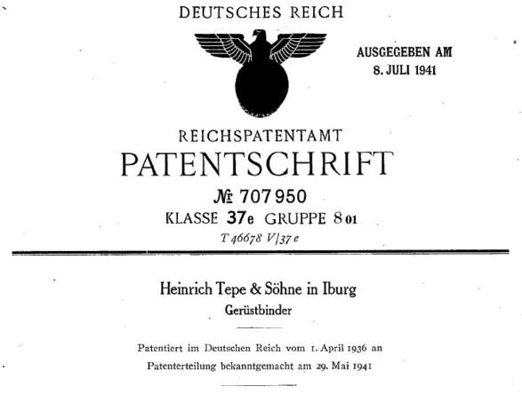 Patent der Fa. Heinrich Tepe & Söhne für einen Gerüstbinder im Jahre 1936