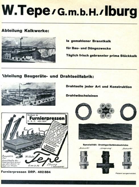"""Gewerbliche Anzeige der """"Wilhelm Tepe GmbH"""""""