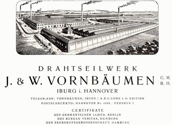 """Gewerbliche Anzeige vom """"Drahtseilwerk J. & W. Vornbäumen GmbH"""""""