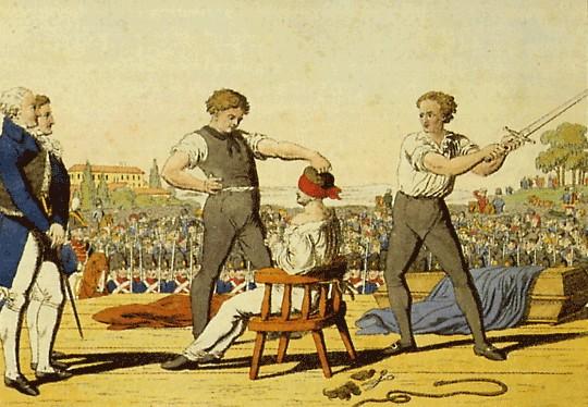 Enthauptung von Karl Ludwig Sand am 20. Mai 1820 auf den Glaciswiesen in Mannheim