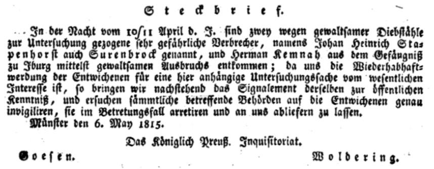 """Steckbrief zu Johann Heinrich Stapenhorst und Hermann Heinrich Kemnah, unterzeichnet von Goesen (""""Criminal-Director"""") und Woldering (""""1. Registrator"""")"""