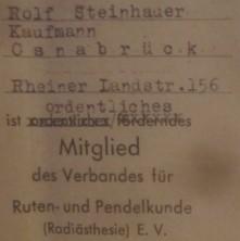 Mitgliedskarte Rolf Steinhauer