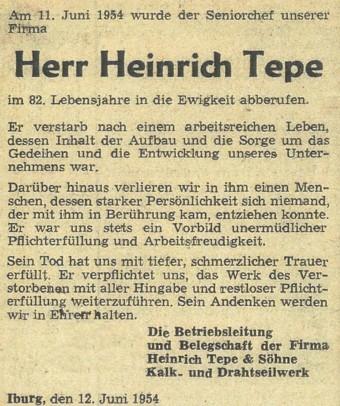 Todesanzeige Heinrich Tepe