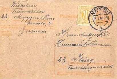 Postkarte von Wilhelm Petermöller an Herrn Amtsgerichtsrat Hermann Pohlmann