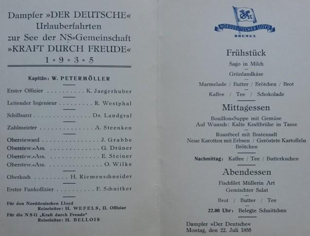 """Speisekarte an Bord des Dampfers """"Der Deutsche"""" vom 22. Juli 1935"""