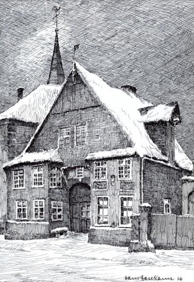 Haus Wedekämper, Federzeichnung von Hans Hasekamp, 1926