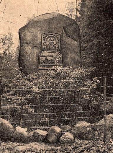 Der Zeppelinstein, eingezäunt im Jahre 1937