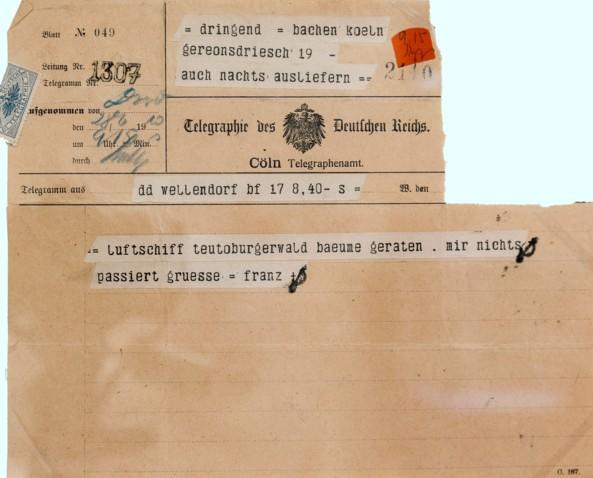 Telegramm, aufgegeben am 28. Juni