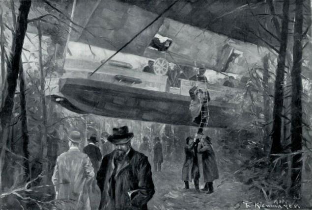 Passagiere verlassen nach der Strandung die vordere Gondel