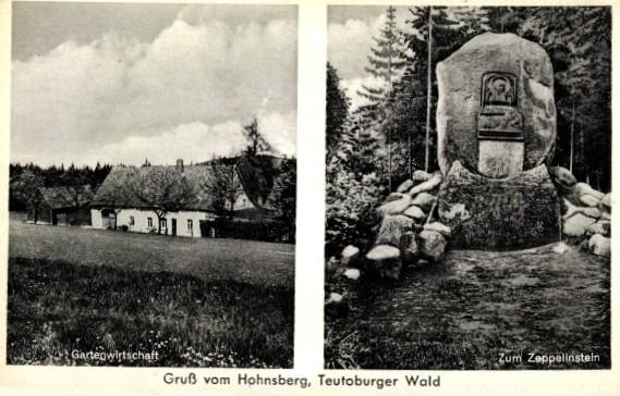 """Ansichtskarte der Gastwirtschaft """"Zum Zeppelinstein"""" (links) sowie der Zeppelinstein (rechts)"""